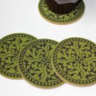Floral design laser engraved cork coasters - set of 4