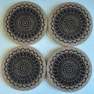 Mandala design laser engraved cork coasters - set of 4