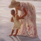 First Time At The Beach Mother and Child  by Georgia Janisse Art Print