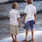 Two Boys Fishing On Beach Children by Georgia Janisse Art Print