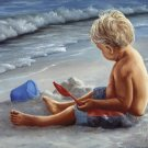 Little Boy Playing On The Beach Children by Georgia Janisse Art Print