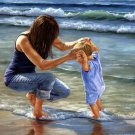 Playing In The Ocean Mother And Child by Georgia Janisse Art Print
