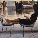 Girl Reading On The Dock Of The Bay Marina  by Georgia Janisse Art Print