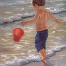 Little Boy Playing In The Water Surf Beach  by Georgia Janisse Art Print