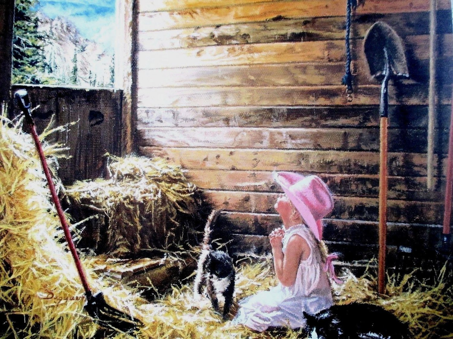 Dear God It Is Me Calling by Carla D'aguanno Western Little Cowgirl Praying Art Print