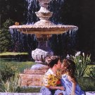 Lovebirds by Carla D'aguanno  Little Girl and Boy At Fountain Art Print