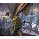 At The Helm Jesus And Firsherman On Stormy Sea  by Danny Hahlbohm Art Print