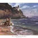 Wise And Foolish Builders Sand Castle Lighthouse Beach Religious by Danny Hahlbohm Art Print