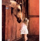 Little Visitor Girl and Horse Horses By Lesley Harrison Art Print