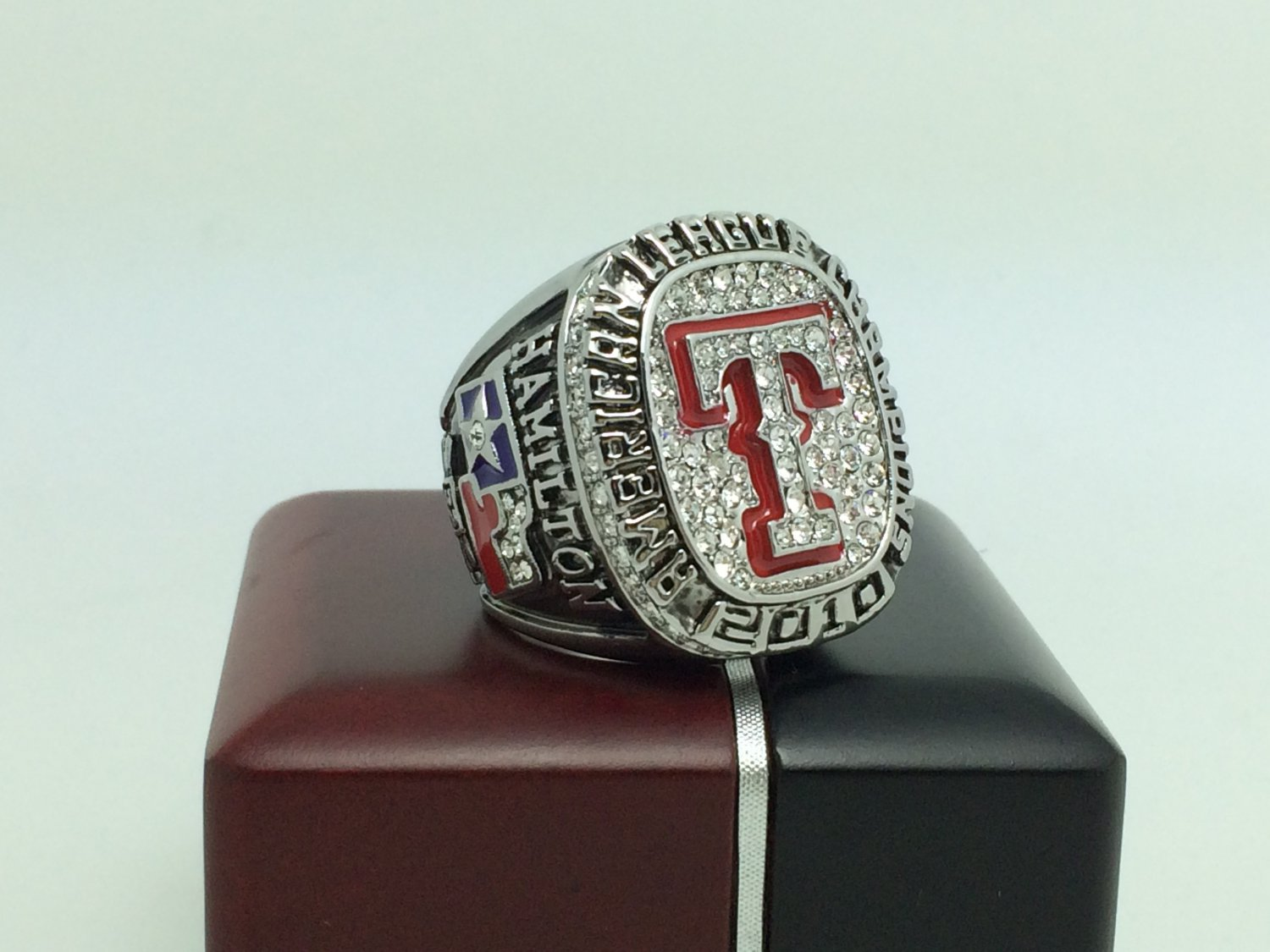 2010 TEXAS RANGERS American League Baseball Championship Ring 11 Size With wooden box