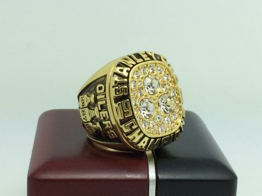 1987 Edmonton Oilers Stanley Cup Championship ring 11 Size With wooden box