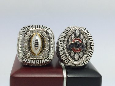 One Set 2PCS 2014 2015 Ohio State Buckeyes National Championship Ring 8-14 Size With wooden box