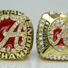 One Set 2 PCS 2009 2011 Alabama Crimson NCAA Football Championship ring size 11 solid back