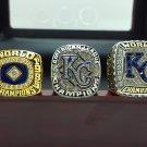 One Set 3 PCS 1985 2014 2015 Kansas City Royals Championship rings 8-14S wooden box