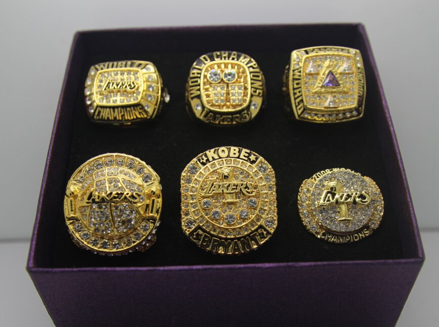 Kobe Set 6 Pcs 2000 2001 2002 2009 2010 2016 Los Angeles Lakers Nba Championship Ring