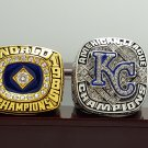 One Set 2 PCS 1985 2014 Kansas City Royals Championship rings 8-14S with wooden box