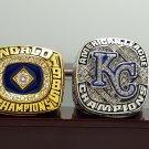 One Set 2 PCS 1985 2014 Kansas City Royals Championship rings 8-14S with wooden box