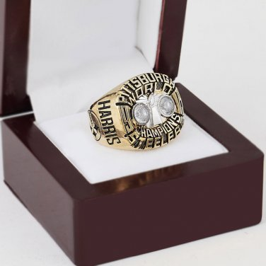 1975 Pittsburgh Steelers super bowl Championship Ring 10-13 Size with a nice wooden case