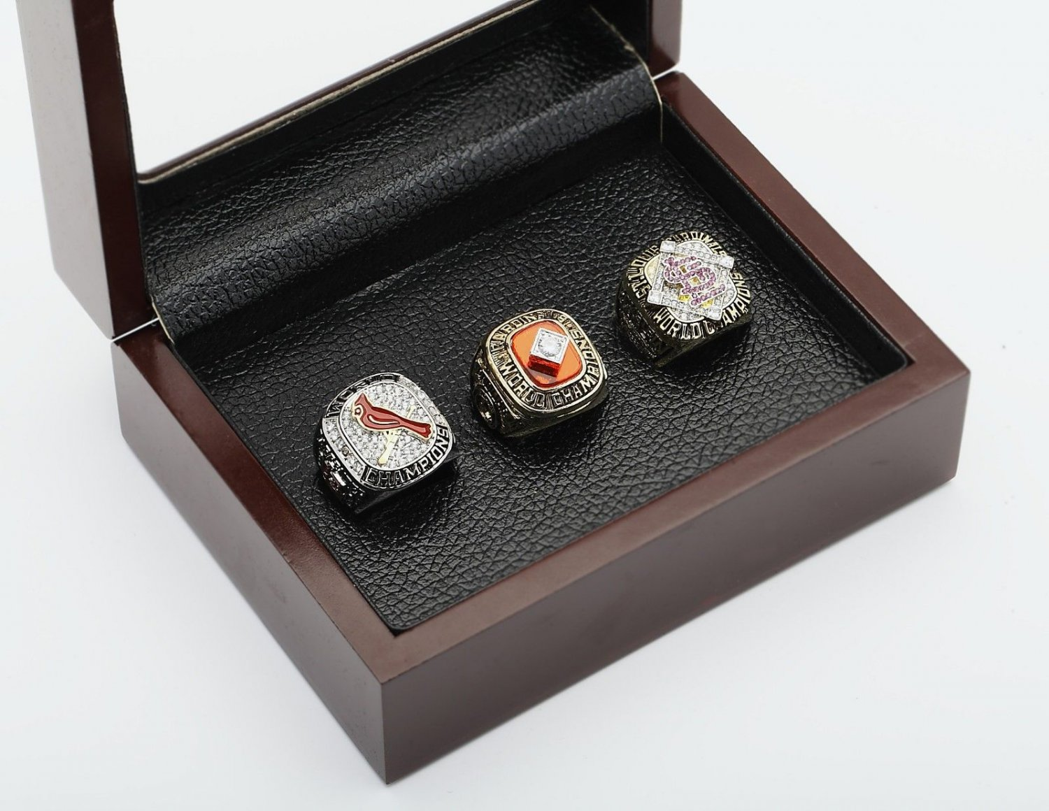 3pcs 1982 2006 2011 ST LOUIS CARDINALS World Series Championship Ring Size 10-13+ wooden case