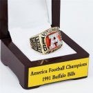 1991 Buffalo Bills AFC Football Championship Ring Size 10-13 With a nice wooden case