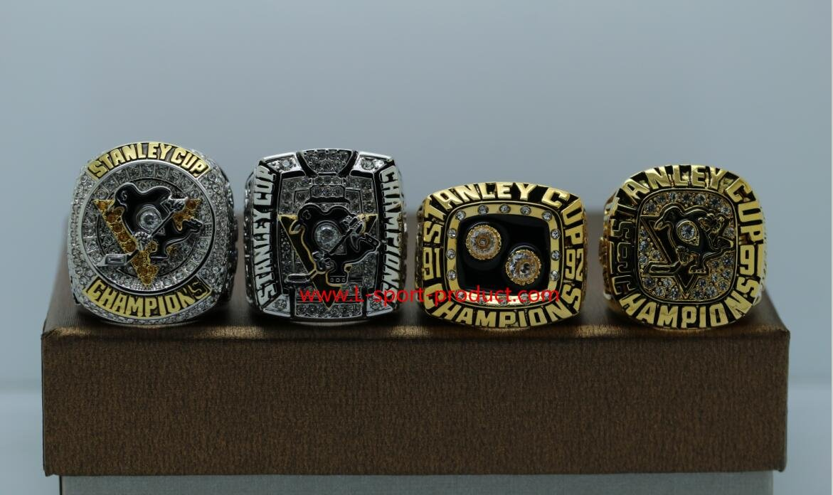 One Set 4 PCS 1991 1992 2009 2016 Pittsburgh Penguins Hockey Stanely Cup Championship rings 8 Size