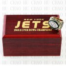 Team Logo wooden case 1968 New York Jets super bowl Ring 10-13 Size to choose