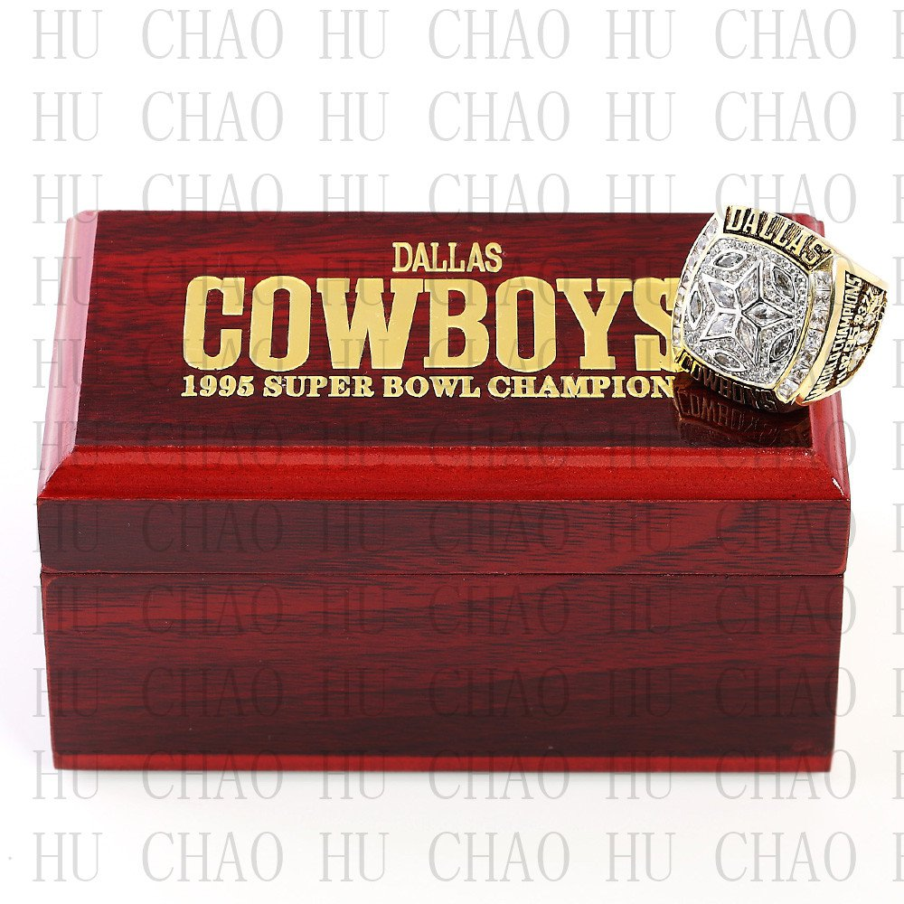Team Logo wooden case 1995 Dallas Cowboys super bowl Ring 10-13 Size to choose