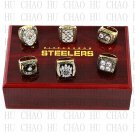 Team Logo case 6 PCS 1974 1975 1978 1979 2005 2008 Pittsburgh Steelers super bowl Ring 10-13S
