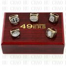 Team Logo case 5 PCS One Set 1981 1984 1988 1989 1994 San Francisco 49ers super bowl Ring 10-13 Size