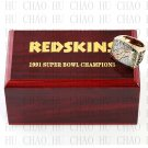 Team Logo wooden case 1991 Washington Redskins super bowl Ring 10-13 Size to choose