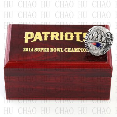 Team Logo wooden case 2014 New Eangland Patriots super bowl Ring 10-13 Size to choose