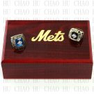 One Set 2 PCS 1969 1986 New York Mets MLB Championship Ring 10-13 Size Logo wooden box