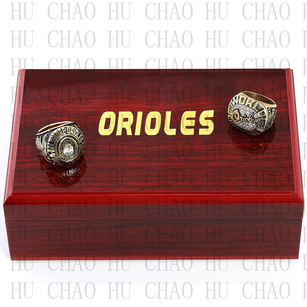 One Set 2 PCS 1970 1983 BALTIMORE ORIOLES MLB Championship Ring 10-13 Size with Logo wooden box