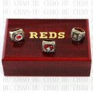 One Set 3PCS 1975 1976 1990 CINCINNATI REDS MLB Championship Ring 10-13 Size with Logo wooden box
