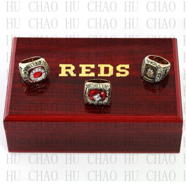 One Set 3PCS 1975 1976 1990 CINCINNATI REDS MLB Championship Ring 10-13 Size with Logo wooden box