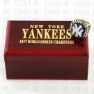 1977 New York Yankees MLB Championship Ring 10-13 Size with Logo wooden box