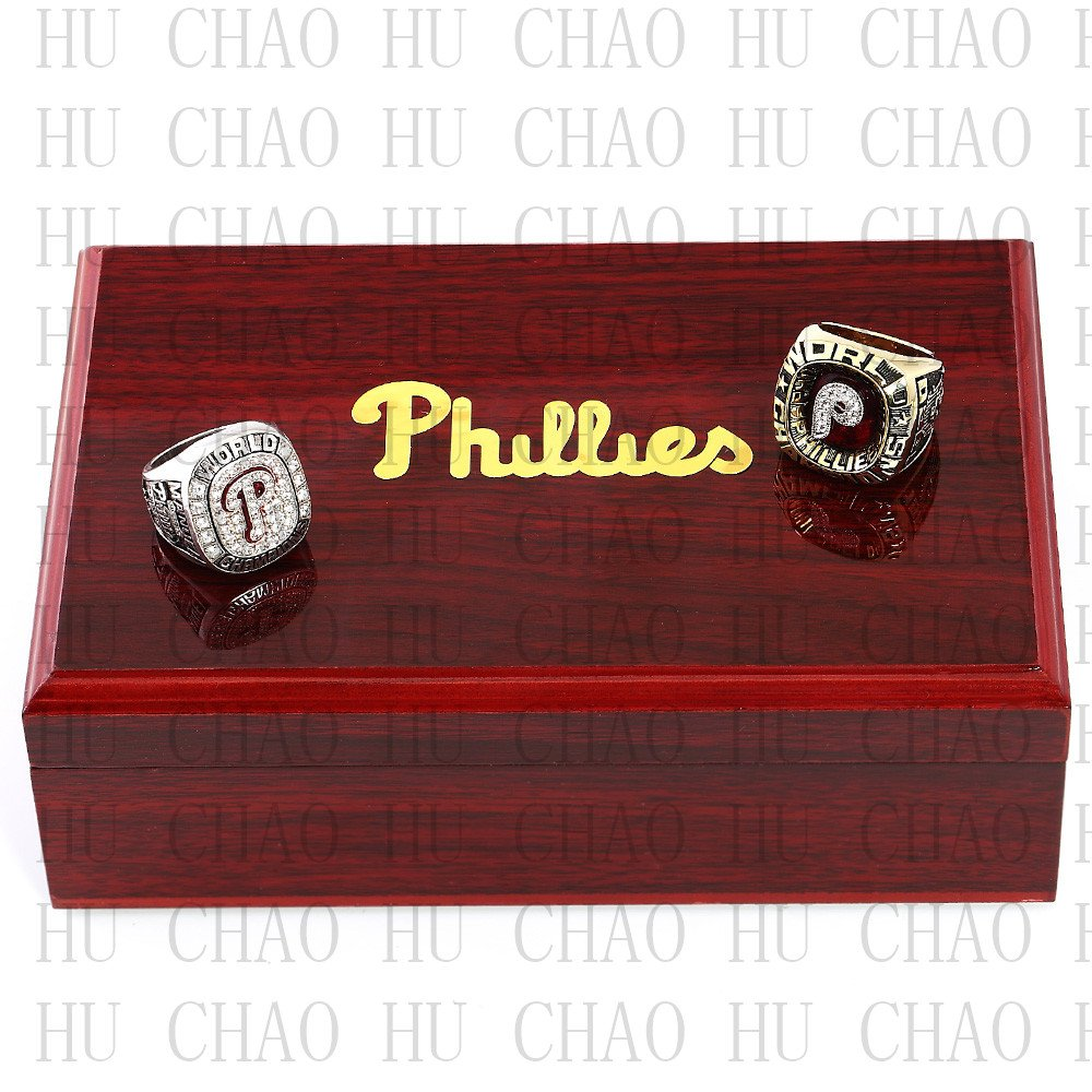 One Set 2 PCS 1980 2008 Philadelphia Phillies MLB Championship Ring 10-13 Size with Logo wooden box