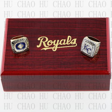 One Set 2 PCS 1985 2015 Kansas City Royals MLB Championship Ring 10-13 Size with Logo wooden box