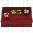 One Set 2 PCS 1987 1991 MINNESOTA TWINS MLB Championship Ring 10-13 Size with Logo wooden box