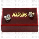 One Set 2 PCS 1997 2003 FLORIDA MARLINS MLB Championship Ring 10-13 Size with Logo wooden box