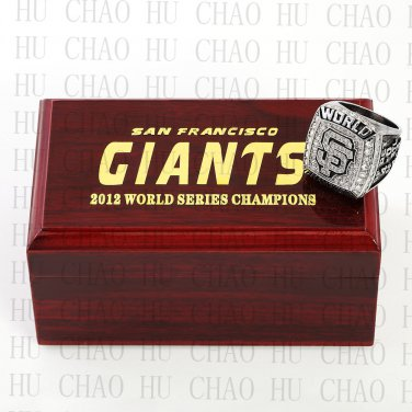 2012 San Francisco Giants MLB Championship Ring 10-13 Size with Logo wooden box