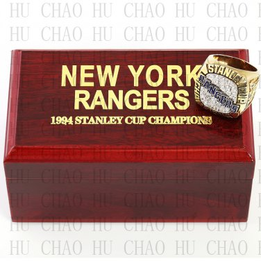 1994 New York Rangers NHL Hockey Championship Ring 10-13 Size with Logo wooden box