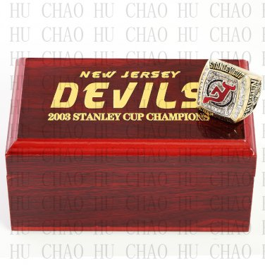 2003 New Jersey Devils NHL Hockey Championship Ring 10-13 Size with Logo wooden box