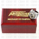2009 Pittsburgh Penguins NHL Hockey Championship Ring 10-13 Size with Logo wooden box