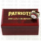 1985 New England Patriots AFC Football world Championship Ring 10-13 Size with Logo wooden box