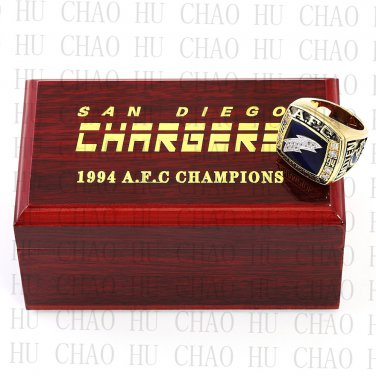 1994 San Diego Chargers AFC Football world Championship Ring 10-13 Size with Logo wooden box