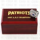 2007 New England Patriots AFC Football world Championship Ring 10-13 Size with Logo wooden box