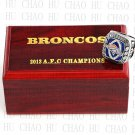 2013 Denver Broncos AFC Football world Championship Ring 10-13 Size with Logo wooden box