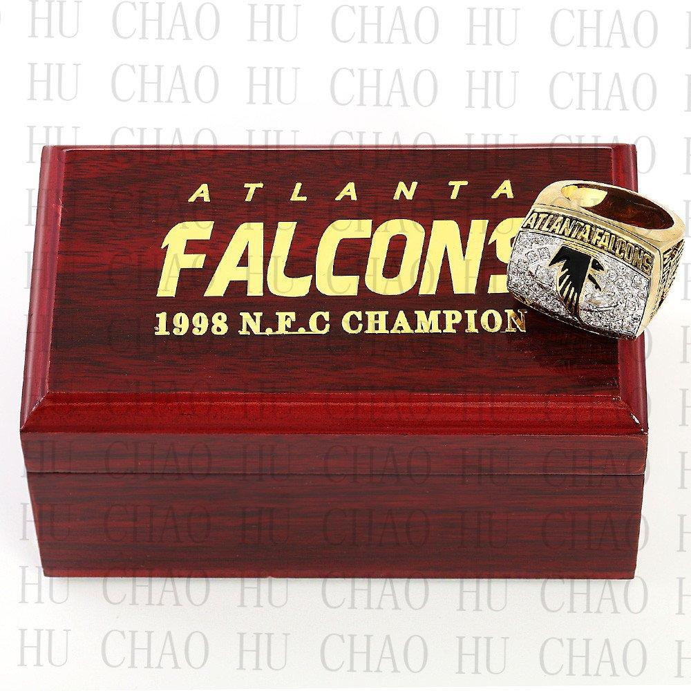 1998 Atlanta Falcons NFC Football world Championship Ring 10-13 Size with Logo wooden box
