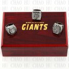 Set 3 pcs 2010 2012 2014 San Francisco Giants MLB Championship Ring 10-13S +Logo wooden box